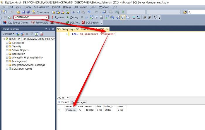 SQL Server'da Bir Tablonun Fiziksel Boyutunu Öğrenmek