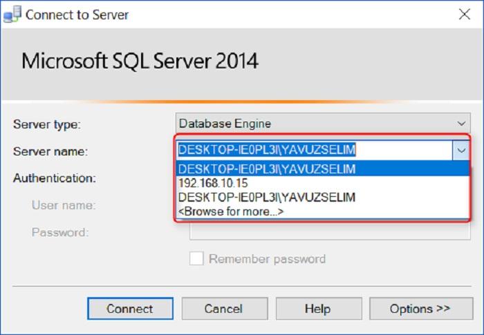 SQL Server'da Kullanıcı Giriş Ekranını Temizlemek