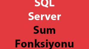SQL Server Sum Fonksiyonu