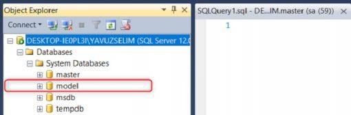 SQL Server'da Model Veritabanı