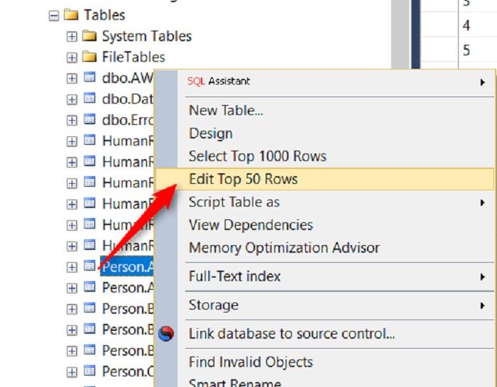 SQL Server'da Tablo Adı Üzerindeki Top Rows Sayısını Değiştirmek