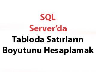 SQL Server'da Tabloda Satırların Boyutunu Hesaplamak