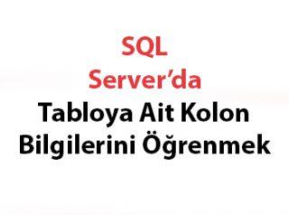 SQL Server'da Tabloya Ait Kolon Bilgilerini Öğrenmek