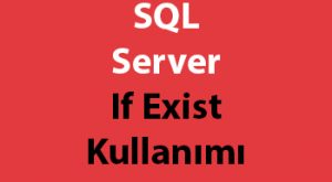 SQL Server If Exist Kullanımı