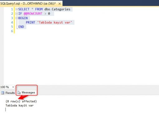 SQL Server @@Rowcount Fonksiyonu