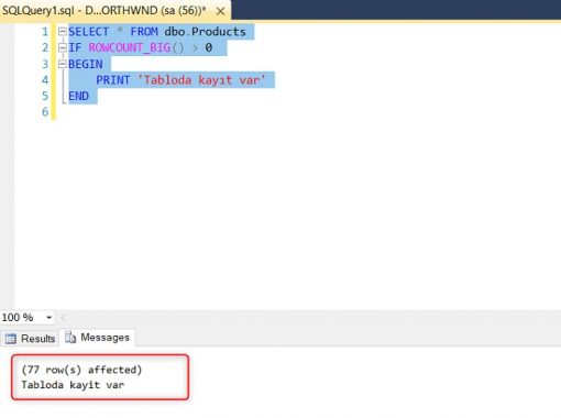 SQL Server RowCount_Big Fonksiyonu