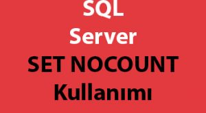 SQL Server SET NOCOUNT Kullanımı