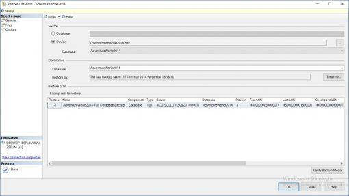 SQL Server'da AdventureWorks Veritabanı Yükleme