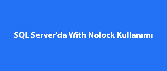 SQL Server With Nolock Kullanımı