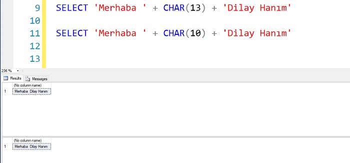 SQL Server'da Char(10) ve Char(13) Arasındaki Fark