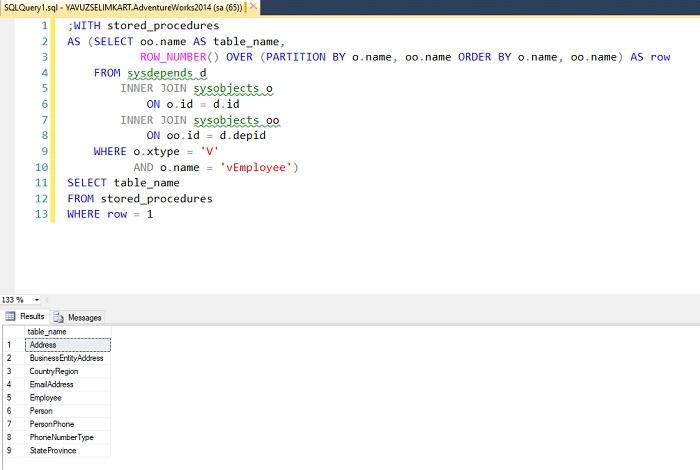SQL Server'da İlgili Objede Kullanılmış Tüm Tabloları Listelemek