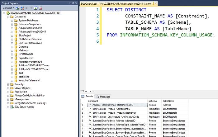 SQL Server'da İlgili Veritabanına Ait Tüm Primary Key ve Foreign Key'lerin Listelenmesi