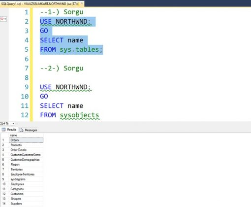 SQL Server'da İlgili Veritabanına Ait Tüm Tabloları Listelemek