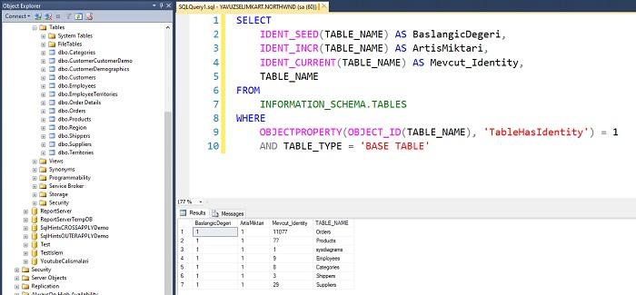 SQL Server'da İlgili Veritabanına Ait Tüm Tabloların Identity Değerlerinin Listelenmesi