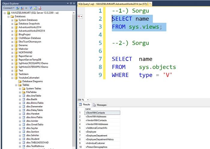 SQL Server'da İlgili Veritabanına Ait Tüm Viewları Listelemek