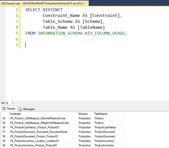 SQL Server'da Primary Key ve Foreign Key'leri Tüm Veritabanı için Listelemek