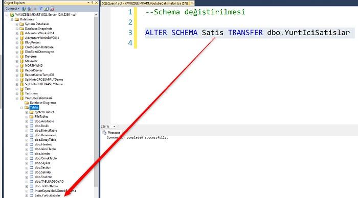 SQL Server'da Schema Adını Değiştirmek