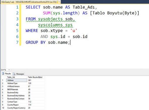 SQL Server'da Seçilen Veritabanında Tablo Boyutlarının Görüntülenmesi