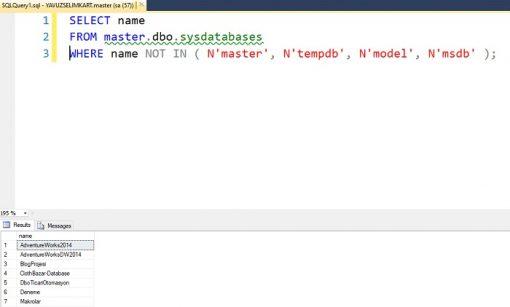 SQL Server'da Tüm Veritabanlarını Listelemek