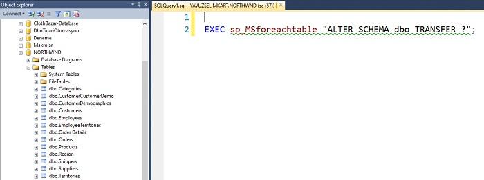 SQL Server'da Veritabanındaki Tüm Tabloların Şemasını Değiştirmek
