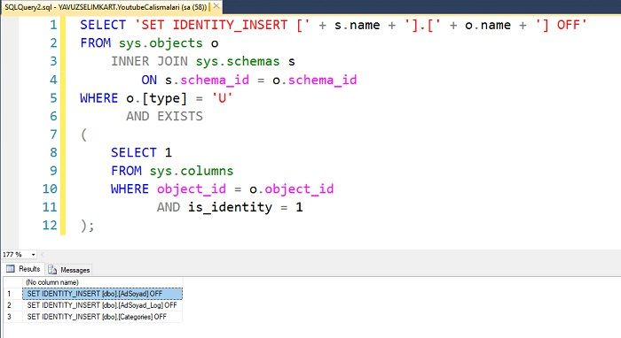 SQL Server'da Tüm Tabloların IDENITY Değerinin Otomatik Artmasını Kapatmak