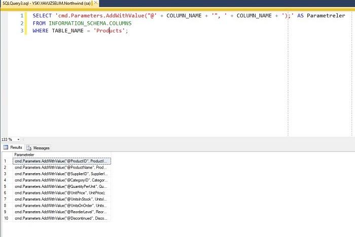 SQL Server'da ADO.NET Parametreleri Oluşturmak