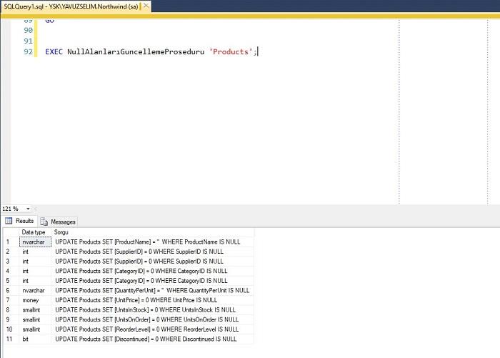 SQL Server'da Tablodaki NULL Alanların Güncelleme Kodunu Oluşturan Prosedür