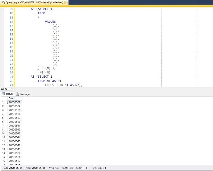 SQL Server'da İki Tarih Arasında Hafta Sonu Olmayan Günleri Listeleyen Fonksiyon