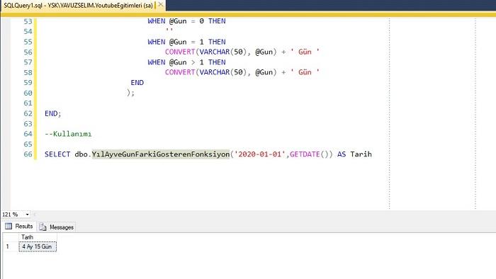 SQL Server'da İki Tarih Arasındaki Yıl, Ay ve Gün Farkını Gösteren Fonksiyon