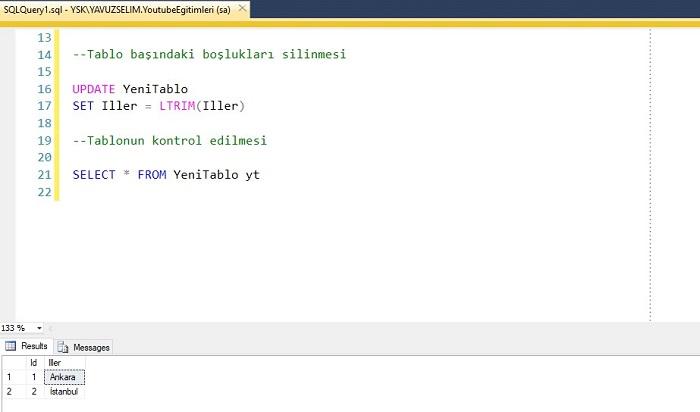 SQL Server'da Kolon Başındaki Boşlukları Silmek