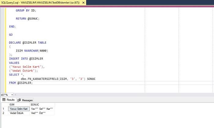 SQL Server'da Karakter Şifreleme Fonksiyonu