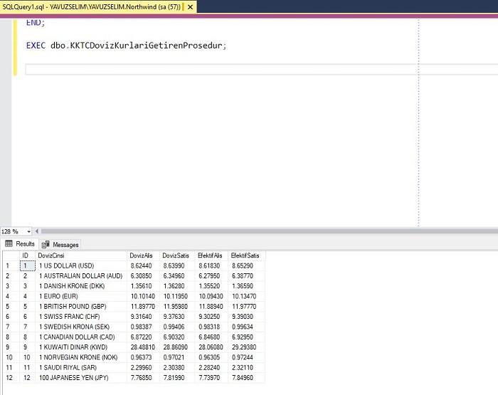 SQL Server'da KKTC Merkez Bankasından Döviz Kurlarını Getiren Prosedür