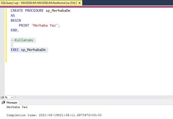 SQL Server'da Stored Prosedürler