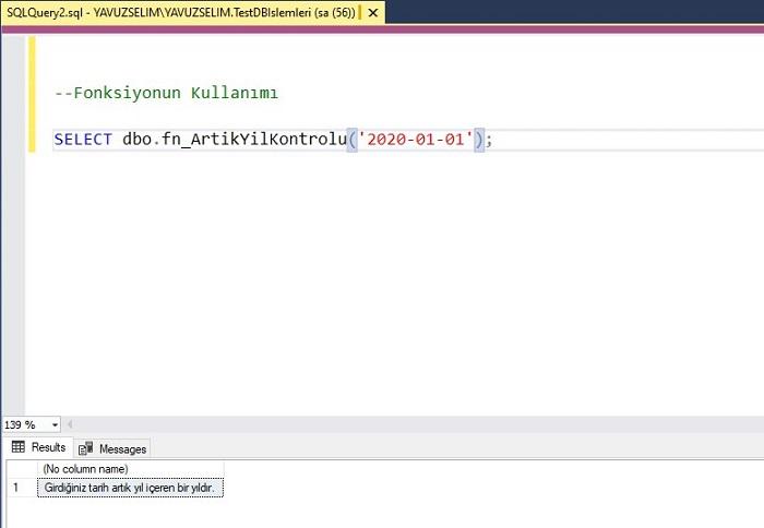 SQL Server'da Artık Yılı Bulan Fonksiyon
