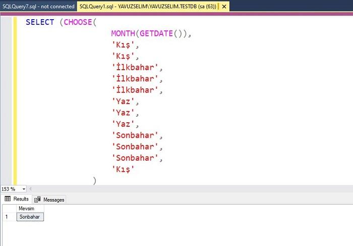 SQL Server'da CHOOSE Fonksiyonunu Kullanarak Mevsim Bilgisini Getirmek