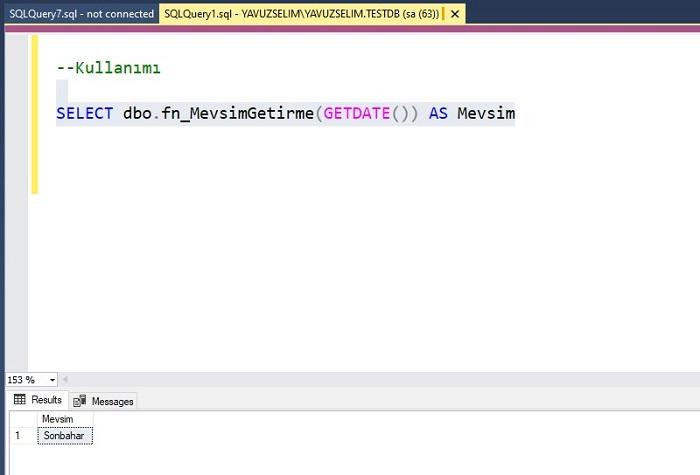 SQL Server'da DATEPART Fonksiyonunu Kullanarak Mevsim Bilgisini Getiren Fonksiyon