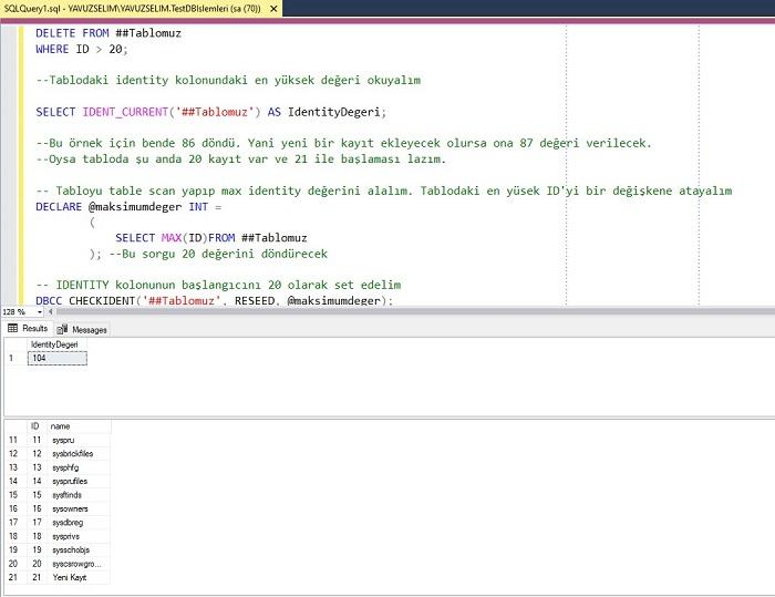 SQL Server'da DBCC CHECKIDENT Kullanımı