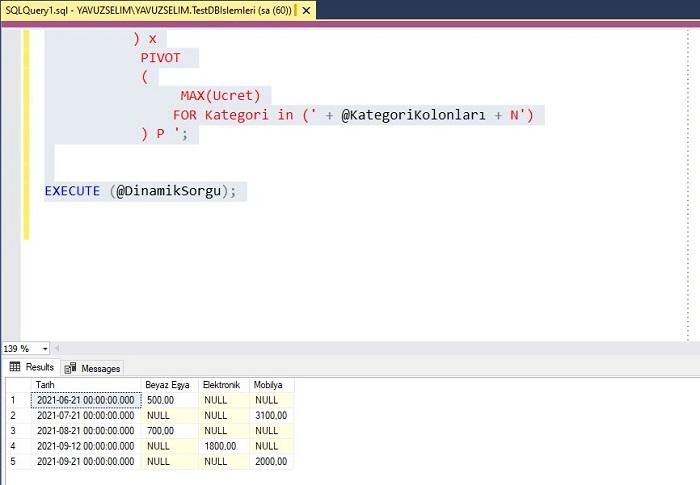 SQL Server'da Dinamik Pivot Kullanımı