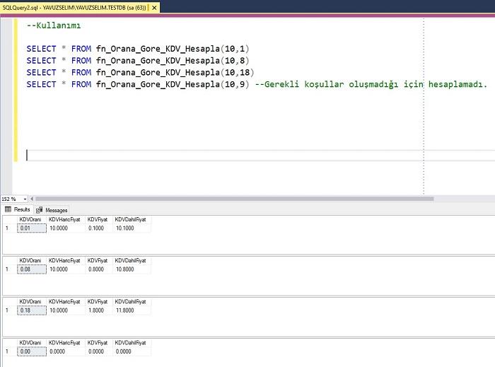 SQL Server'da KDV Oranına Göre Fiyat Hesaplayan Fonksiyon