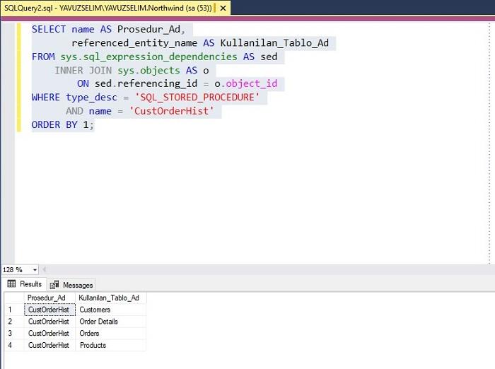 SQL Server'da Stored Prosedürün Kullandığı Tabloyu Bulmak