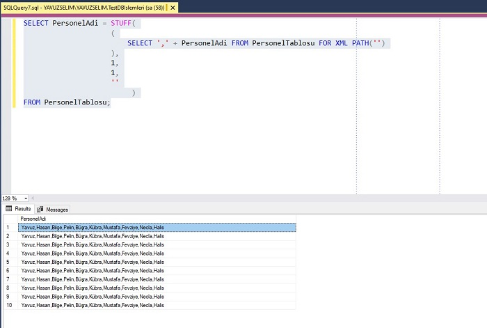 SQL Server'da STUFF ve FOR XML PATH'in Birlikte Kullanımı