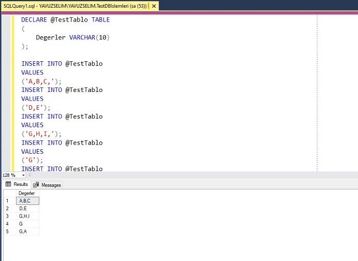 SQL Server'da Tablo İçerisinde Bulunan Dizideki Son Virgülü Kaldırmak