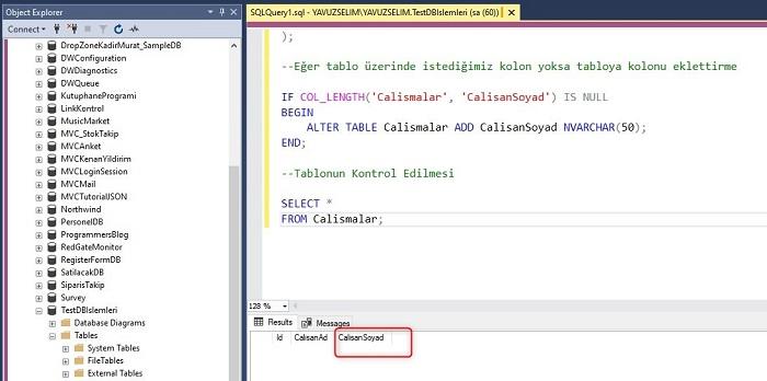 SQL Server'da Tablo Üzerinde İstediğimiz Kolon Yoksa Tabloya Kolonu Eklettirme
