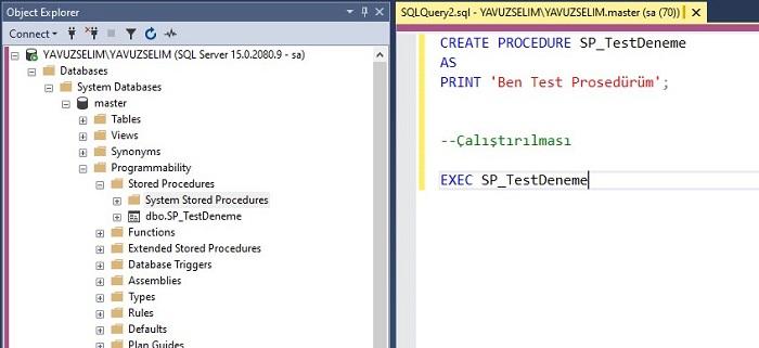 SQL Server'da Tüm Veri Tabanlarından Erişilebilen Prosedür Oluşturmak