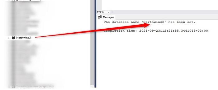 SQL Server'da Unable to rename Hatası
