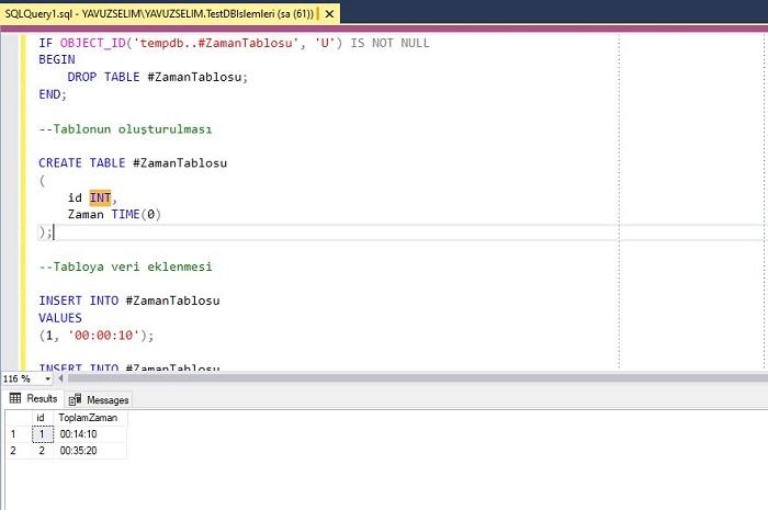 SQL Server'da Zaman Değerlerini Toplamak