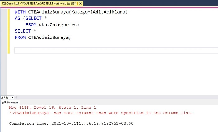 SQL Server'da Common Table Expression (CTE) Kullanımı