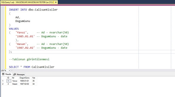 SQL Server'da Computed Column Kullanımı
